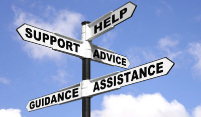 Signpost with Help, Support, Advice  and Assistance on it