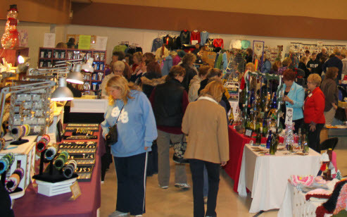 Shoppers perusing items at the Craft Show
